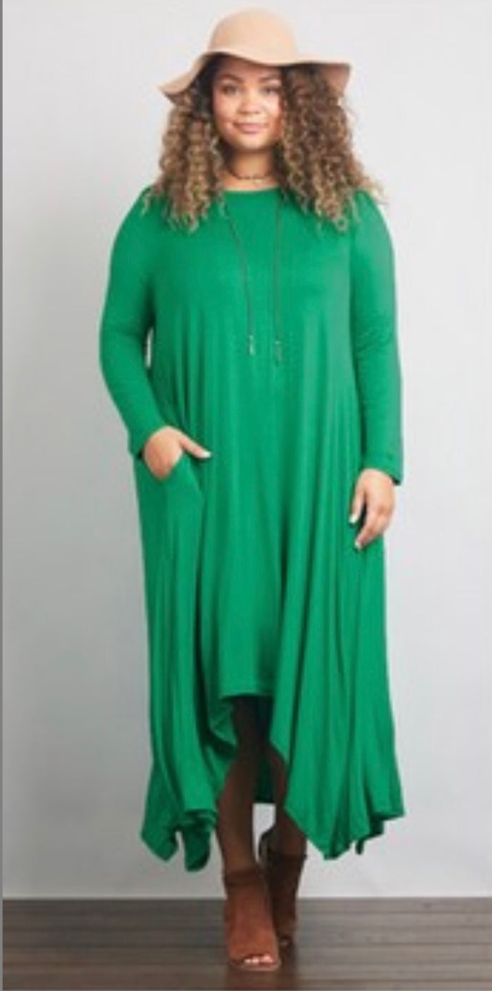 PLUS SIZE - Jersey Flare Dress - Verde or Plum