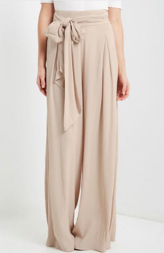 Front Tie High Waisted Palazzos (Tall) - Cream