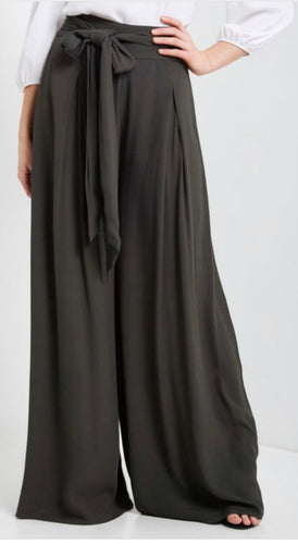 Front Tie High Waisted Palazzos (Tall) - Charcoal