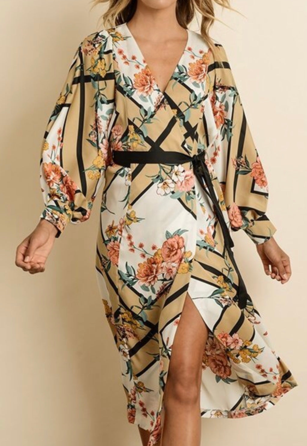 Floral Geo Satin Tunic Dress