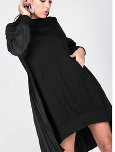 Pleated Tunic Dress - Black