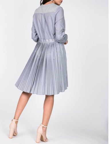Pleated Tunic Dress - Heather Grey