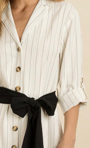 Level Up Pinstriped Shirt Dress