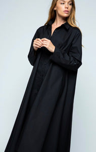 Cotton Poplin Extra Long Shirtdress - two colors!