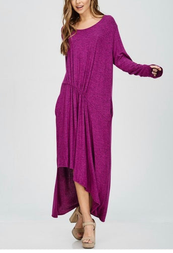 PLUS SIZE - Asymmetrical Knit Dress - Magenta