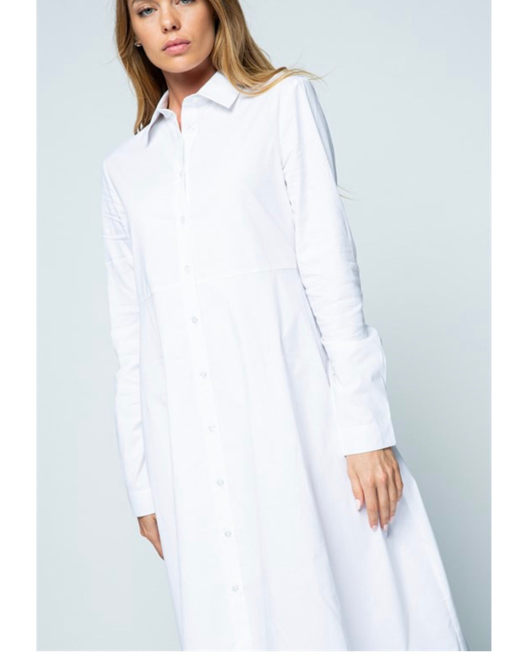 Tailored Cotton Poplin Shirtdress - White