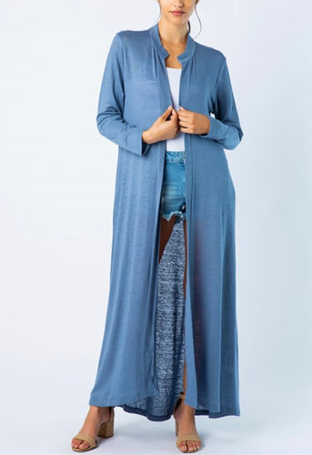 Long Open Cardigan - Ocean Blue