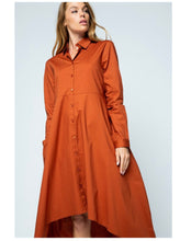 Tailored Cotton Poplin Shirtdress - Rust