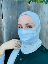 Hijabi Friendly Face Mask - Silver Dots