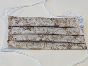 NEW! Adjustable Hijabi Friendly Face Mask - Beige Vintage Roses