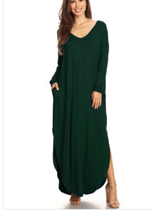 Light & Long Tunic Dress - Hunter Green