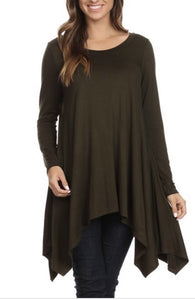 NEW! Jersey Asymmetrical Tunic - Olive Green