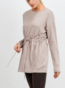 Soft Stretch Knit Tunic Top - Sand