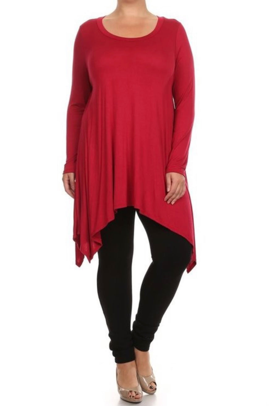 NEW! PLUS SIZE - Jersey Asymmetrical Tunic - Red
