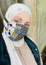 NEW! Hijabi Friendly Face Mask - Metallic Gold, Black & White African Kente