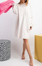 Terry Knit Hoodie Tunic Dress - Off-white
