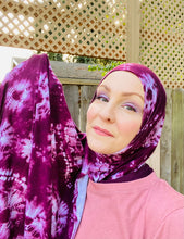 Limited Edition Printed Jersey Hijab: Burgundy Tie-Dye Print