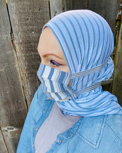 Limited Edition Bundle Printed Jersey Hijab + Mask: Blue Stripes
