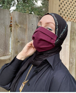 Adjustable Hijabi Friendly Face Mask - Burgundy Solid