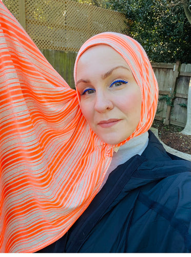 Limited Edition Printed Jersey Hijab: Bright Orange Stripes