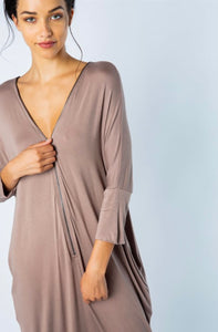 Double Zipper Tunic Dress - Taupe