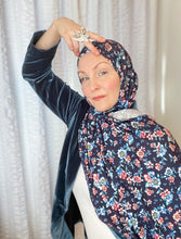 Limited Edition Printed Jersey Hijab: Egyptian Blue Floral
