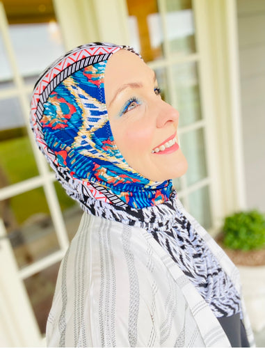 Limited Edition Printed Jersey Hijab: Two Faced Kaleidoscope