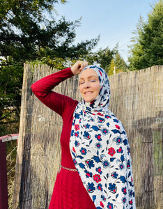 Limited Edition Printed Jersey Hijab: Palestinian Artisan Vibes