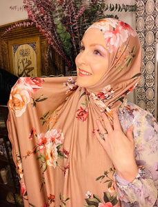 Limited Edition Printed Jersey Hijab: Desert Rose
