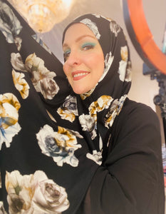 Limited Edition Printed Jersey Hijab: Italian Gothic Roses