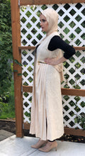 Long Pleated Cotton Vest - Nude