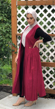 Long Pleated Cotton Vest - Crimson