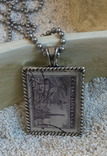 Vintage Stamp Pendant Necklace - Czech Czechoslovakia