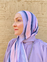 Limited Edition Printed Jersey Hijab: Lavender Stripes