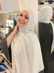 Limited Edition Brushed Jersey Hijab: Eggshell Stripes (designer Michael Stars)