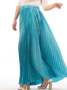 PLUS SIZE - Dreamy Pleated Maxi Skirt - Aqua