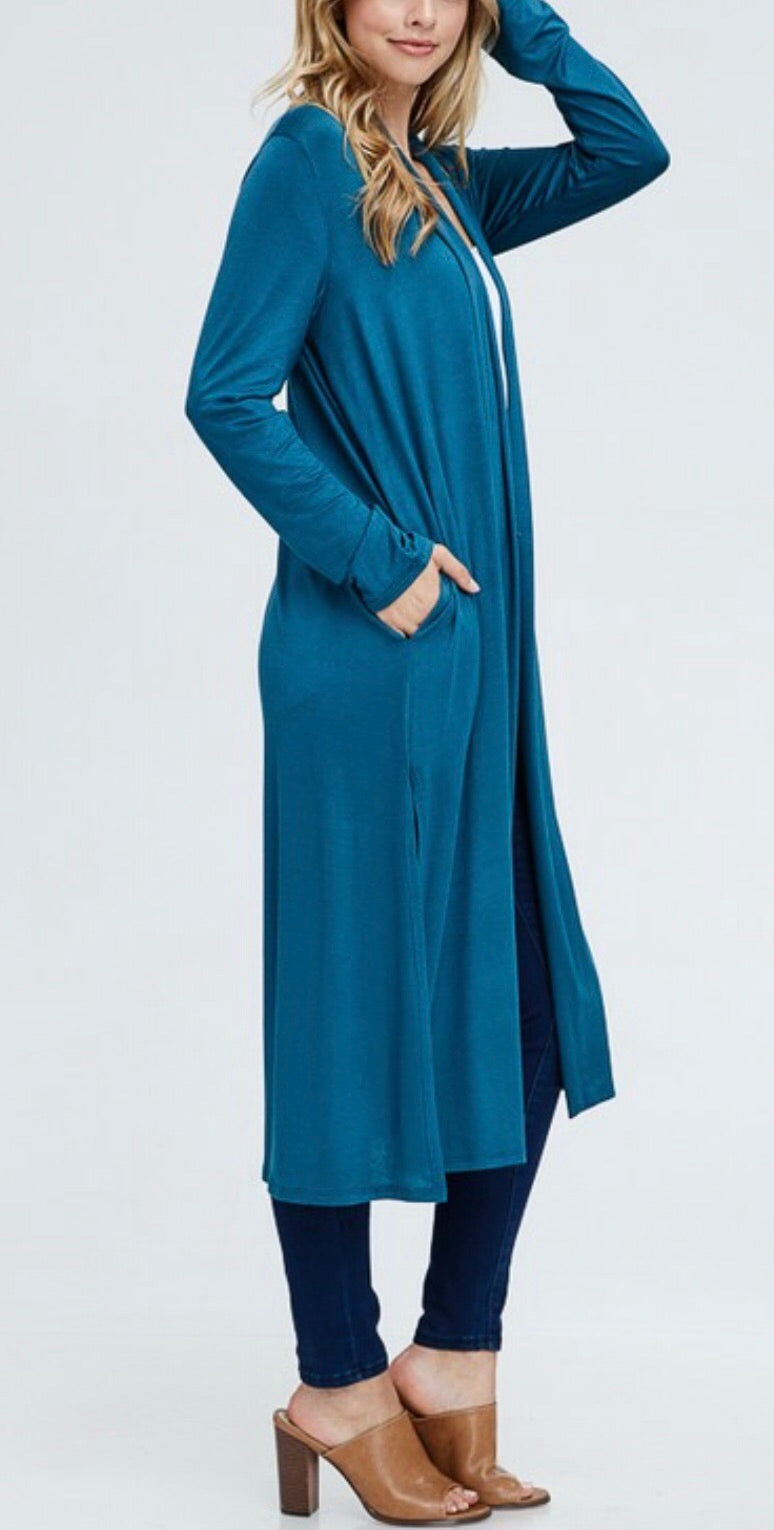 Long Solid Cardi - Teal