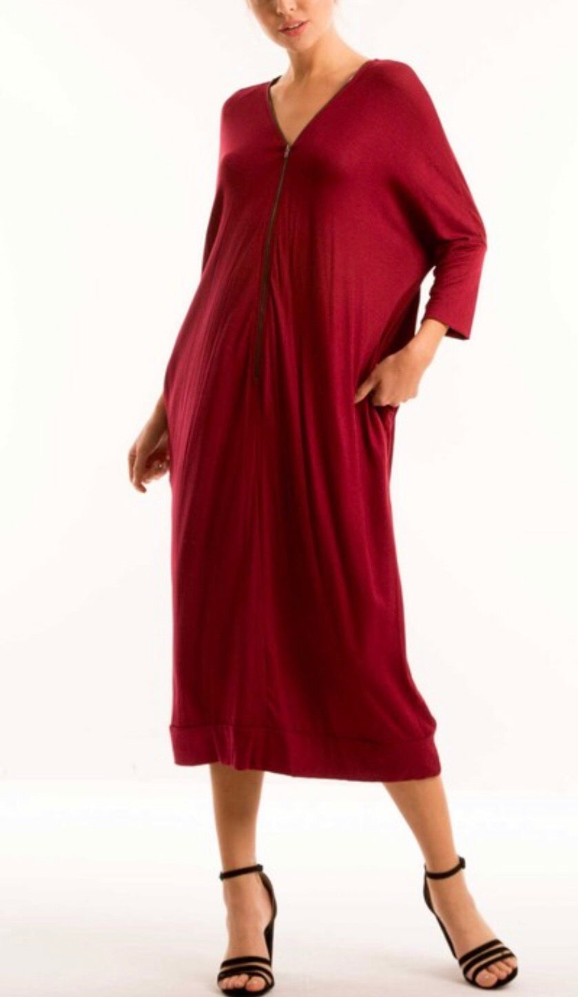 Double Zipper Tunic Dress - Crimson