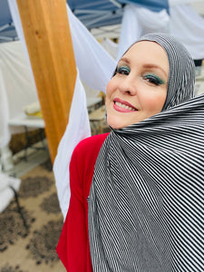 Limited Edition Jersey Hijab: Black & Heather Grey Mini Stripes (extra long)