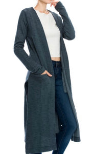Open Front Long Sweater Cardi