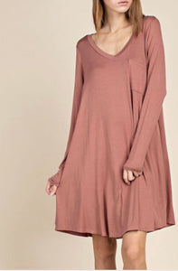 Bamboo v-neck Long Pocket Tee - Rose