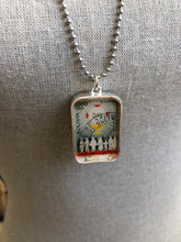 Vintage Stamp Pendant Necklace - Bolivia Mother & Child