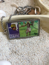 Vintage Stamp Pendant Necklace - Africa, Zaire