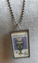 Vintage Stamp Pendant Necklace - Czech Vase