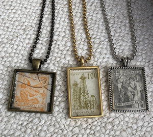 Vintage Stamp Pendant Necklace - Yugoslavia