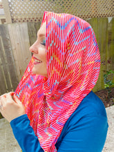 Limited Edition Crepe Chiffon Hijab: Poppy Red Chevrons