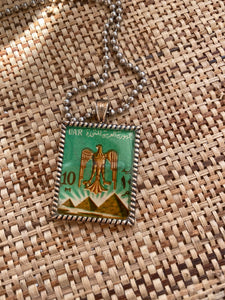 Vintage Stamp Pendant Necklace - Egypt Bird + Pyramids
