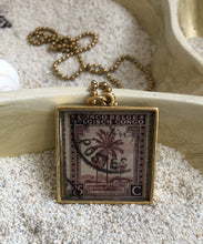 Vintage Stamp Pendant Necklace - Africa, Congo