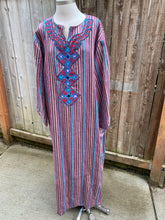 Summer Cotton Embellished Caftan - Pink & Blue - L