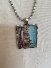 Vintage Stamp Pendant Necklace - Egypt Antiquities Temple